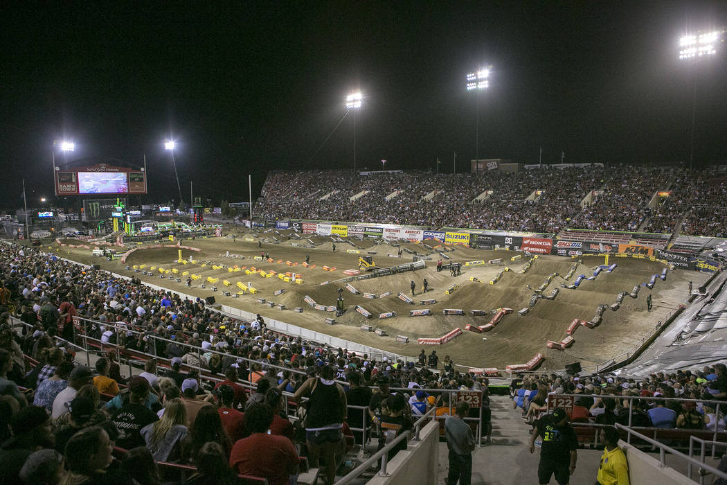 The course is prepped prior to the Monster Energy AMA Supercross 450SX last chase qualifier race at Sam Boyd Stadium on Saturday, May 6, 2017, in Las Vegas. Bridget Bennett Las Vegas Review-Journa ...