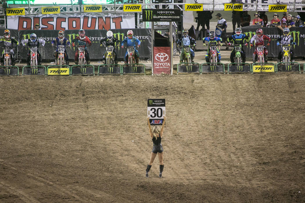 Racers prepare for the Monster Energy AMA Supercross 450SX last chase qualifier race at Sam Boyd Stadium on Saturday, May 6, 2017, in Las Vegas. Bridget Bennett Las Vegas Review-Journal @bridgetkb ...