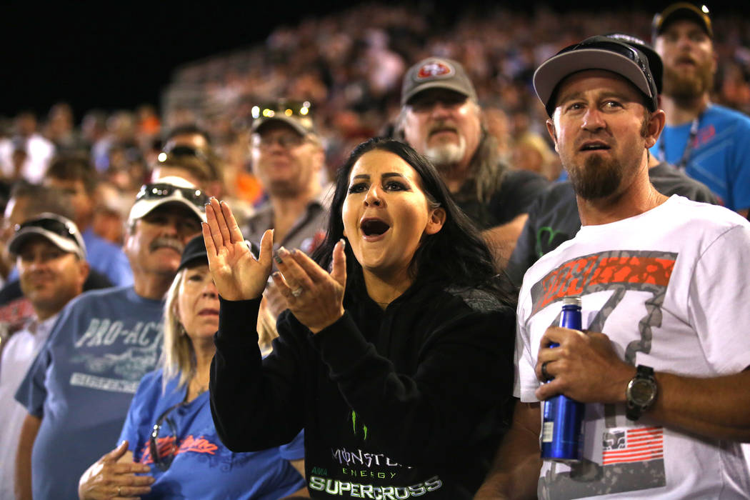 Fans cheer during the Monster Energy AMA Supercross 250SX championship race at Sam Boyd Stadium on Saturday, May 6, 2017, in Las Vegas. Bridget Bennett Las Vegas Review-Journal @bridgetkbennett