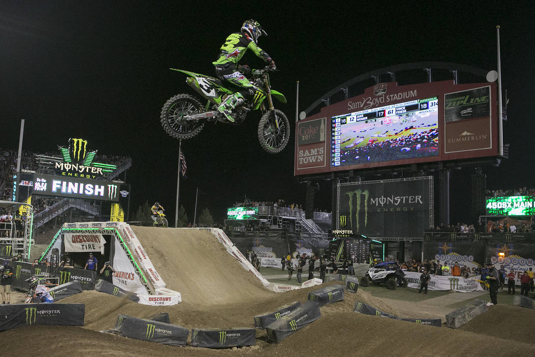 Racer Eli Tomac (3) gets air as he makes his way around the course during the Monster Energy AMA Supercross 450SX championship race at Sam Boyd Stadium on Saturday, May 6, 2017, in Las Vegas. Brid ...