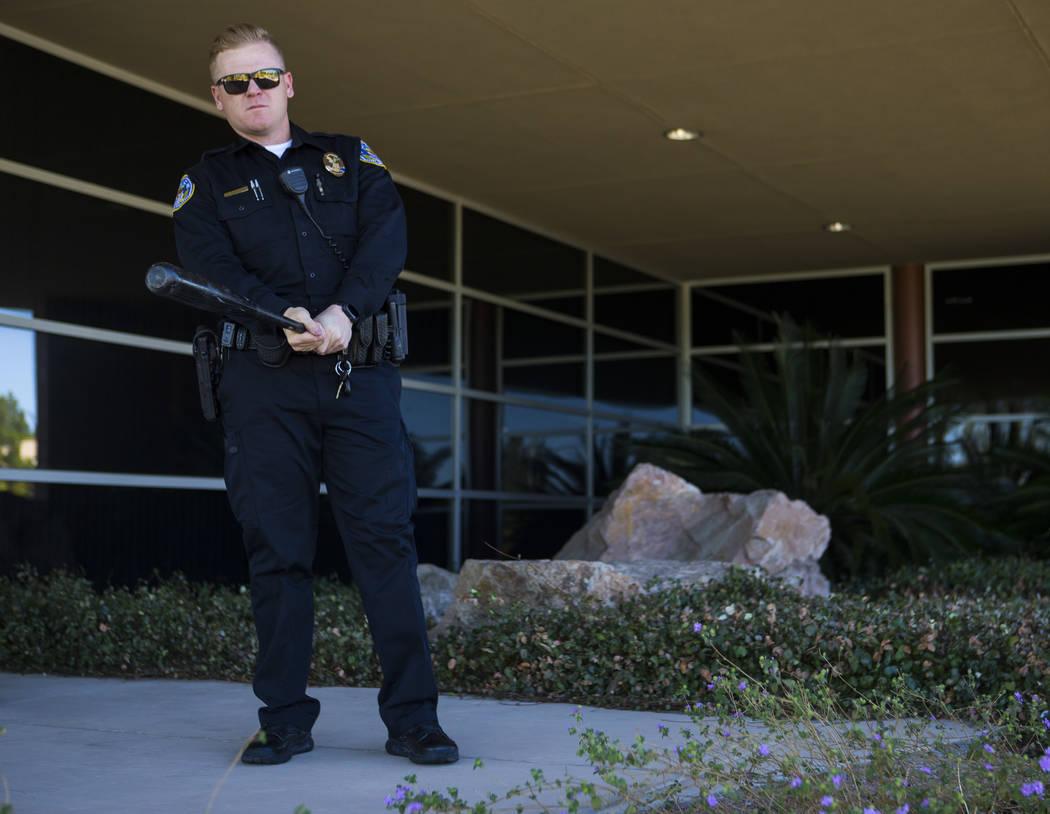 Former UNLV baseball player Eric Nielsen, now a Henderson police officer, at the west substation in Henderson on Saturday, April 29, 2017. Chase Stevens Las Vegas Review-Journal @csstevensphoto