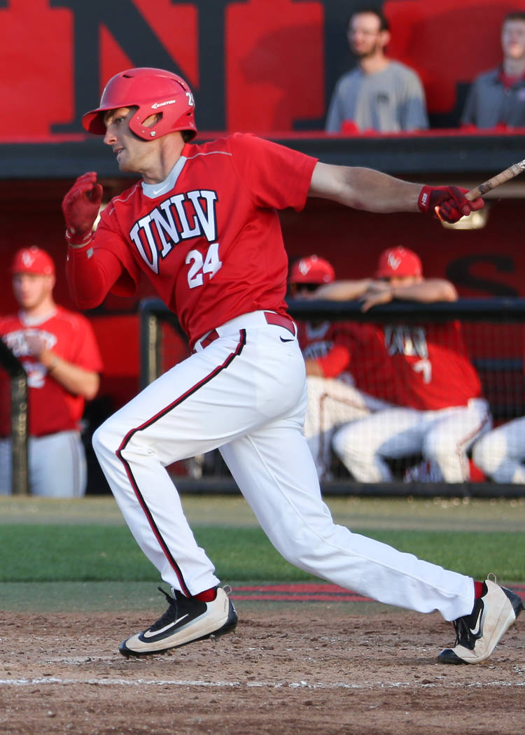 UNLV outfielder/first baseman Cody Howard in action. Photo courtesy of UNLV Athletics.