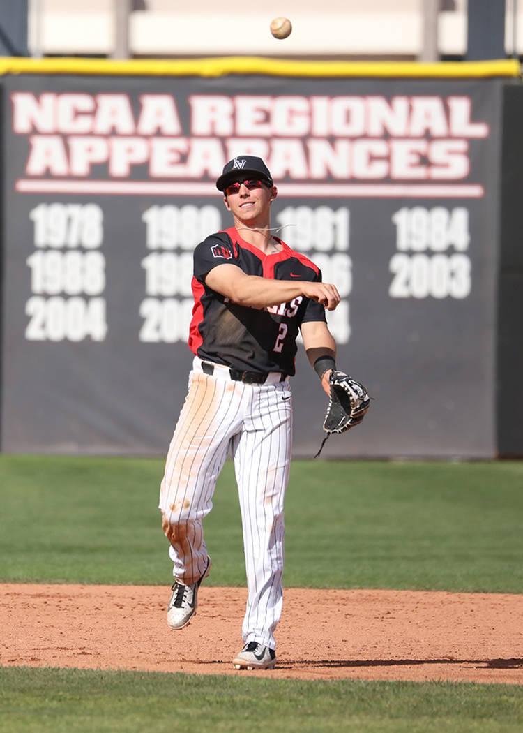 UNLV second baseman Justin Jones in action. Photo courtesy of UNLV Athletics.