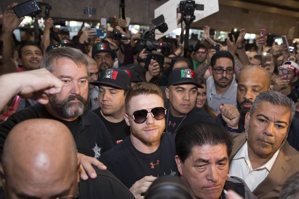 "Saul ""Canelo"" Alvarez, center, during his grand arrival to the MGM Grand hotel-casino on Tuesday, May 2, 2017, in Las Vegas. Erik Verduzco Las Vegas Review-Journal @Erik_Verduzco"