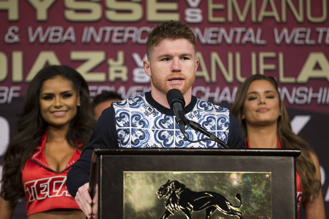 "Saul ""Canelo"" Alvarez during the final press conference before his fight Saturday, at MGM Grand hotel-casino on Wednesday, May 3, 2017, in Las Vegas. Alvarez will fight Julio Ces ..."