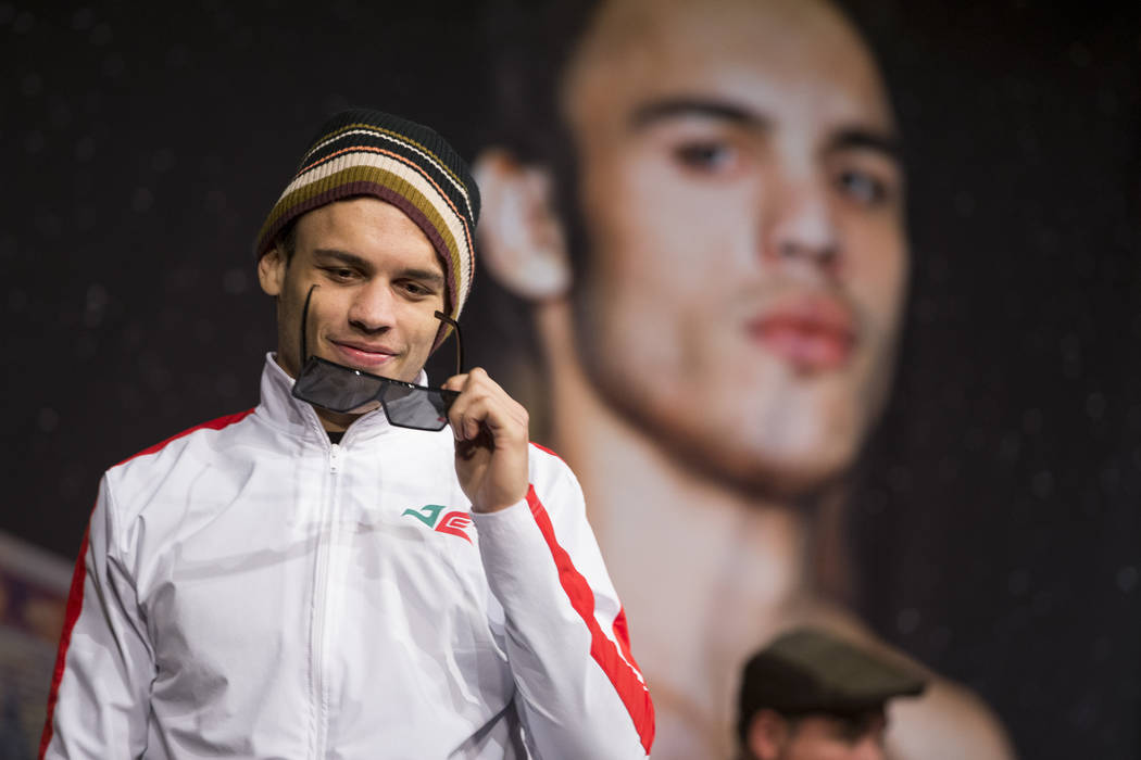"Julio Cesar Chavez Jr., during the final press conference before his Saturday fight, at MGM Grand hotel-casino on Wednesday, May 3, 2017, in Las Vegas. Chavez Jr. will fight Saul ""Canelo& ..."