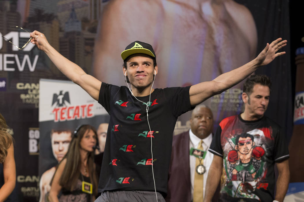 Julio Cesar Chavez Jr. during the official weigh-in at MGM Grand Garden Arena on Friday, May 5, 2017, in Las Vegas. Chavez will fight Saul Canelo Alvarez on May 6 in a catch weight fight at T-Mobi ...