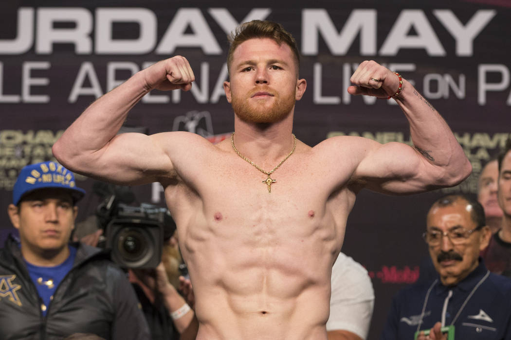 Saul Canelo Alvarez during the official weigh-in at MGM Grand Garden Arena on Friday, May 5, 2017, in Las Vegas. Alvarez will fight Julio Cesar Chavez Jr. on May 6 in a catch weight fight at T-Mob ...