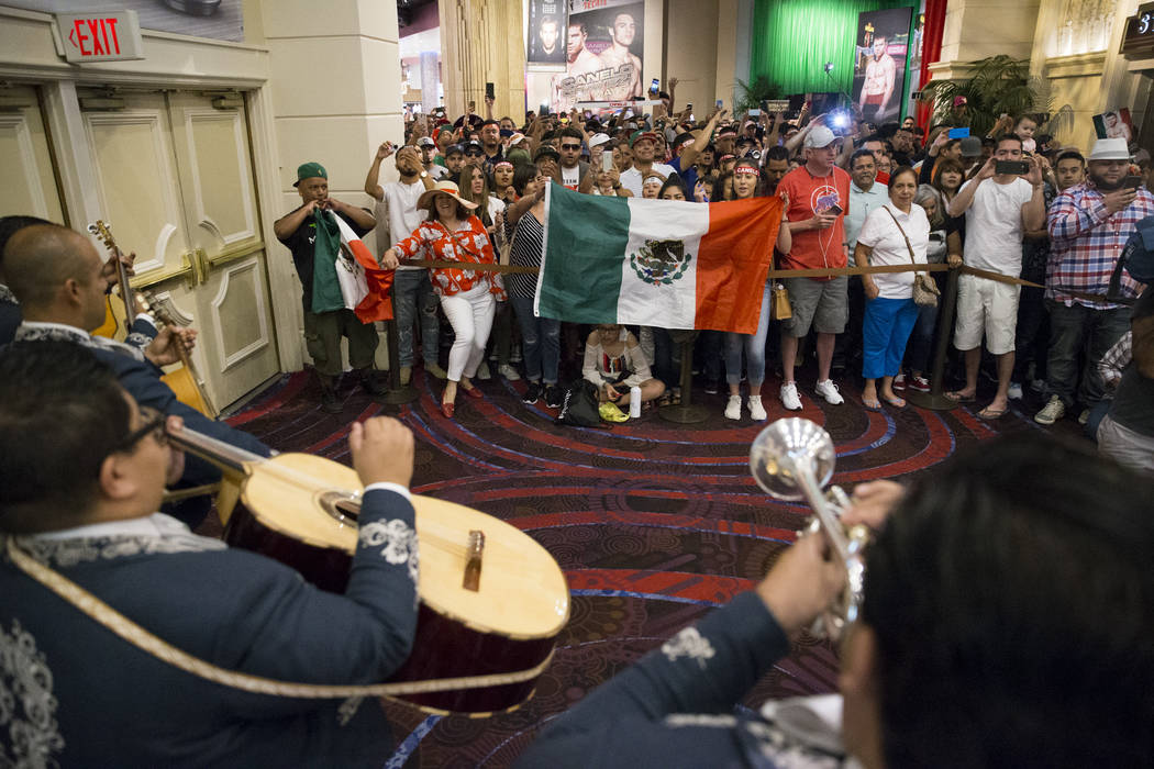 Fans in line for tthe official weigh-in for Saul Canelo and Julio Cesar Chavez Jr. at MGM Grand Garden Arena on Friday, May 5, 2017, in Las Vegas. Erik Verduzco Las Vegas Review-Journal @Erik_Verduzco