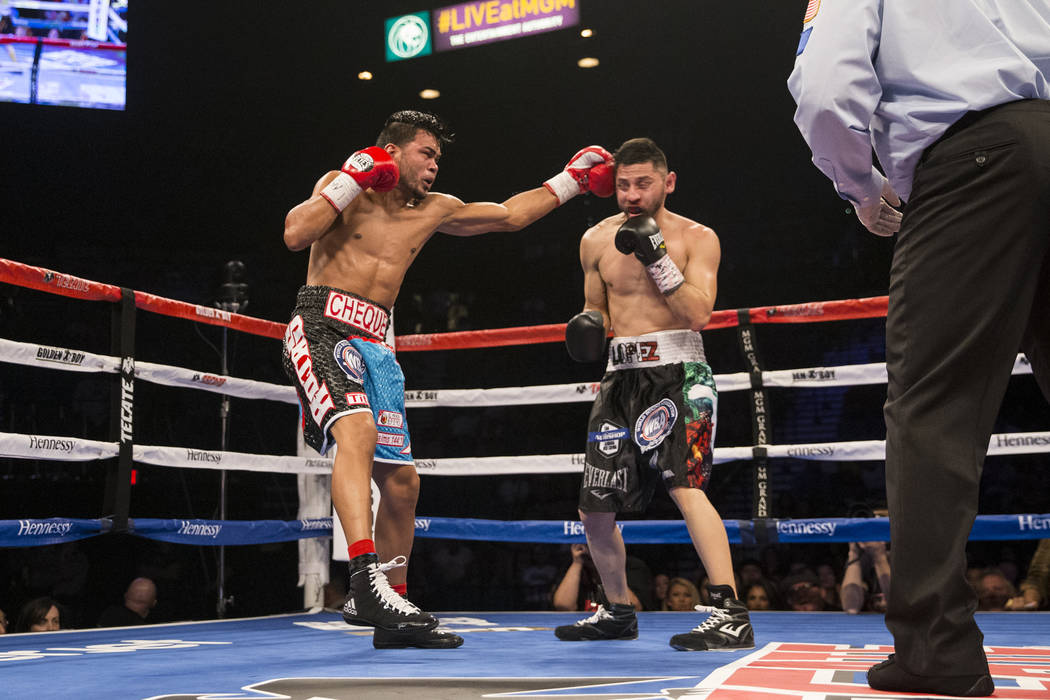 Jesus Rojas connects a punch against Abraham Lopez in the WBA NABA featherweight title bout at MGM Grand Garden Arena on Friday, May 5, 2017, in Las Vegas. Rojas won by knockout in the eight round ...