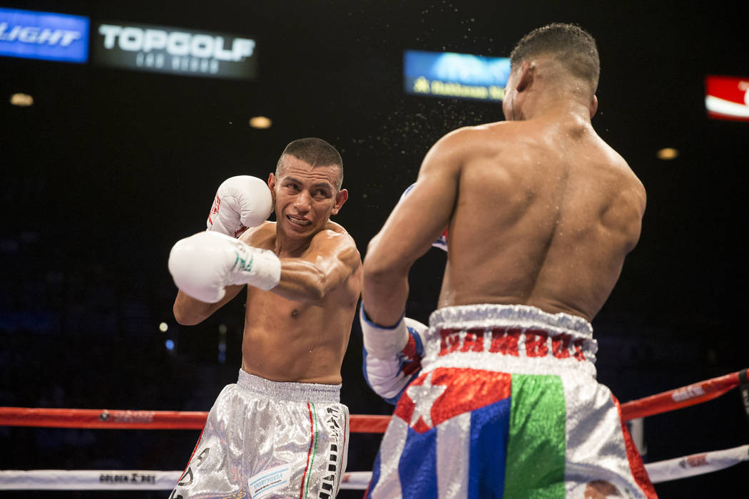 Robinson Castellanos, left, battles Yuriorkis Gamboa in the lightweight bout at MGM Grand Garden Arena on Friday, May 5, 2017, in Las Vegas. Castellanos won after Gamboa's corner stopped the fight ...