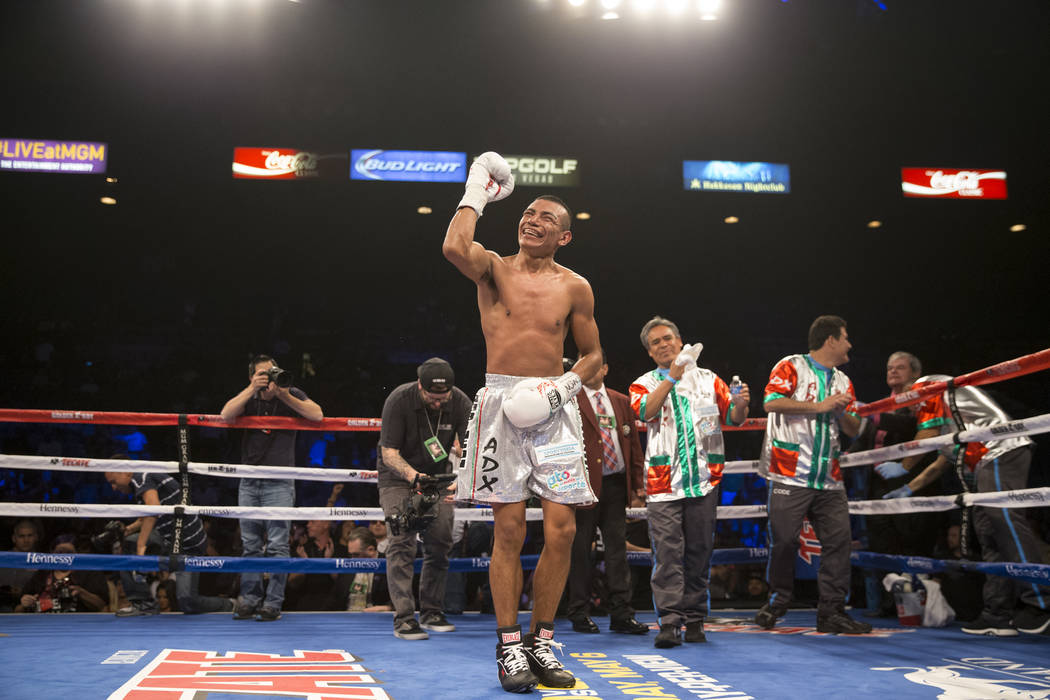 Robinson Castellanos celebrates his win against Yuriorkis Gamboa in the lightweight bout at MGM Grand Garden Arena on Friday, May 5, 2017, in Las Vegas. Castellanos won after Gamboa's corner stopp ...