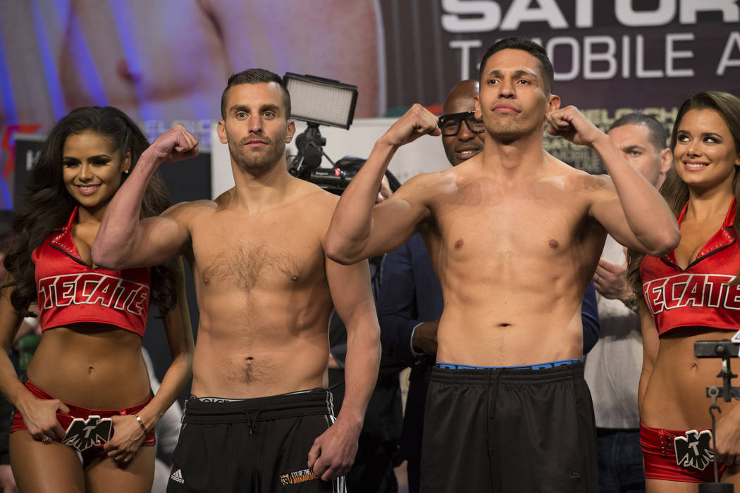 David Lemieux, left, and Marco Reyes during the official weigh-in at MGM Grand Garden Arena on Friday, May 5, 2017, in Las Vegas. Erik Verduzco Las Vegas Review-Journal @Erik_Verduzco