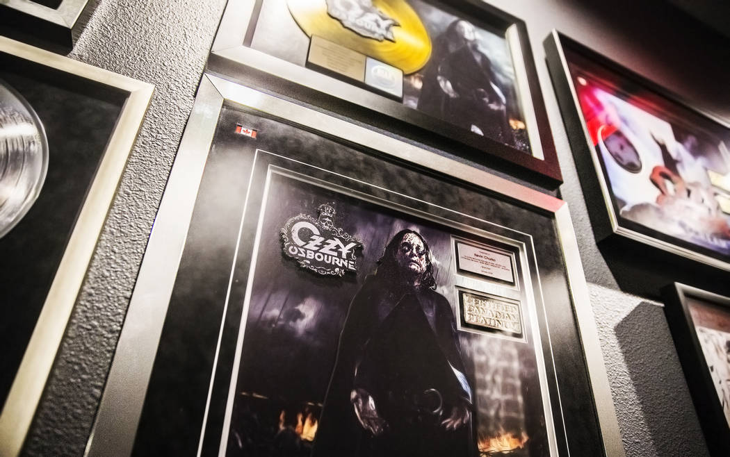 The walls of music tech company TuneGo are lined with high-profile bands that have recorded albums at the Henderson studio. Photo taken on Thursday, April 27, 2017. Benjamin Hager Las Vegas Review ...