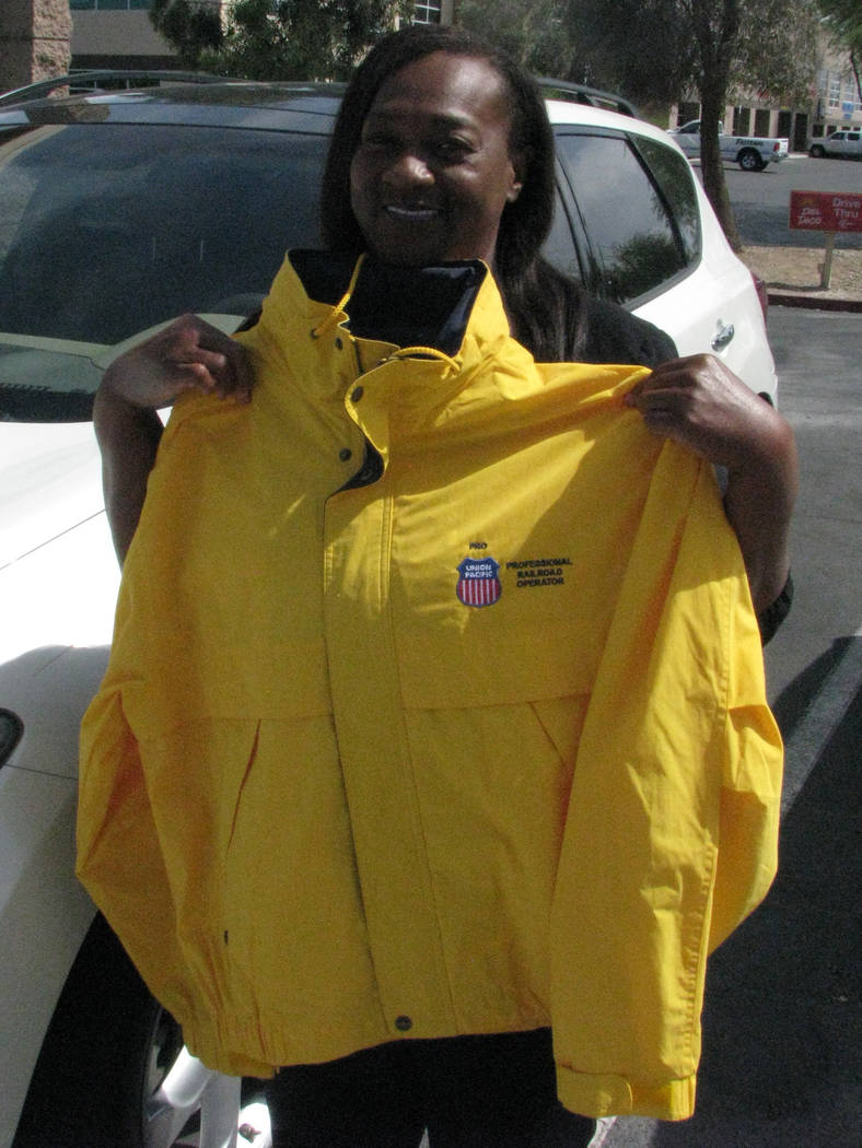 Delorise Hall, the first black woman locomotive engineer in Nevada shows off a special jacket from her days with the Union Pacific Railroad. (F. Andrew Taylor/View) @FAndrewTPress