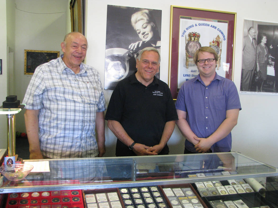 The Las Vegas Numismatic Society members Fred Kuch, Joe Cavallaro and Christopher Shandt a at Shandt's Archangel Coins, 594 S Decatur Blvd. The trio are working ion organizing the Coin Show celebr ...