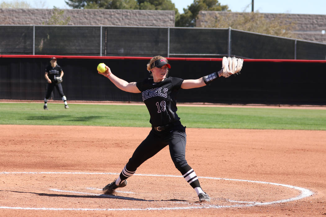 Morgan Ettinger, shown in March, pitched a one-hitter for UNLV in its 1-0 loss to San Jose State on Thursday at Eller Media Stadium. (UNLV)