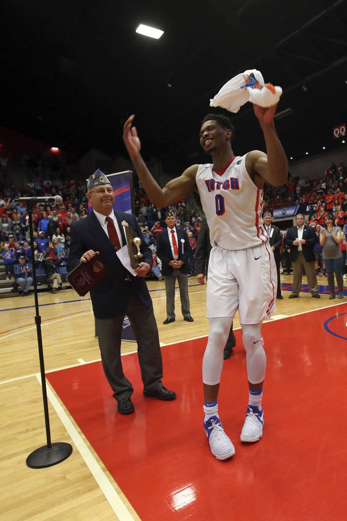 Hutchinson's Shakur Juiston celebrates as he is named the Most Valuable Player of the NJCAA Div I men's college basketball championship against Eastern Florida State, Saturday, March 25, 2017, in  ...