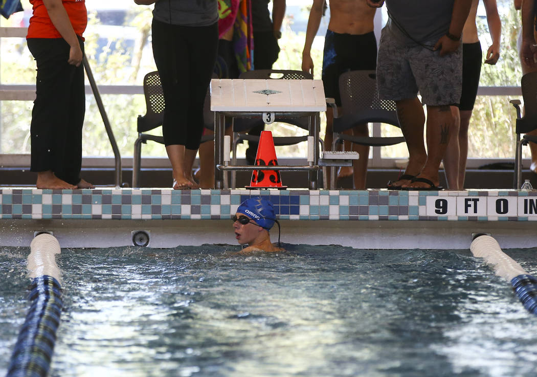 Moapa Valley freshman Spencer Raban after competing in the 50m freestyle during a swim meet at Heritage Park Aquatic Complex in Henderson on Saturday, April 29, 2017. Chase Stevens Las Vegas Revie ...