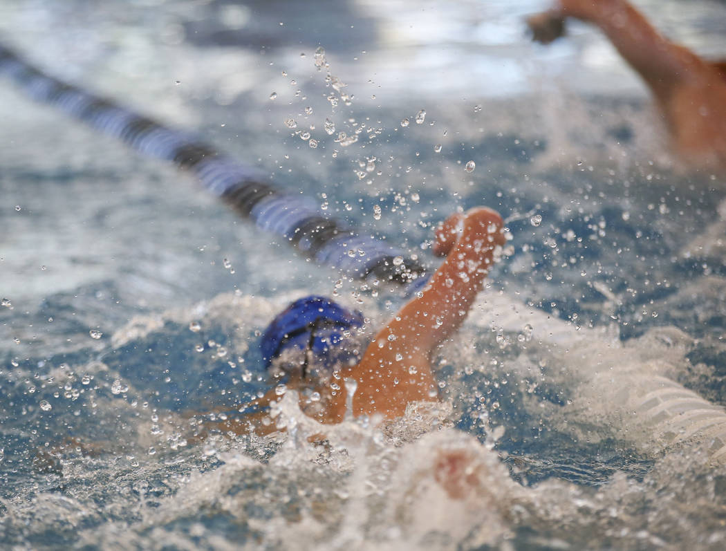 Moapa Valley freshman Spencer Raban competes in the 50m freestyle during a swim meet at Heritage Park Aquatic Complex in Henderson on Saturday, April 29, 2017. Chase Stevens Las Vegas Review-Journ ...