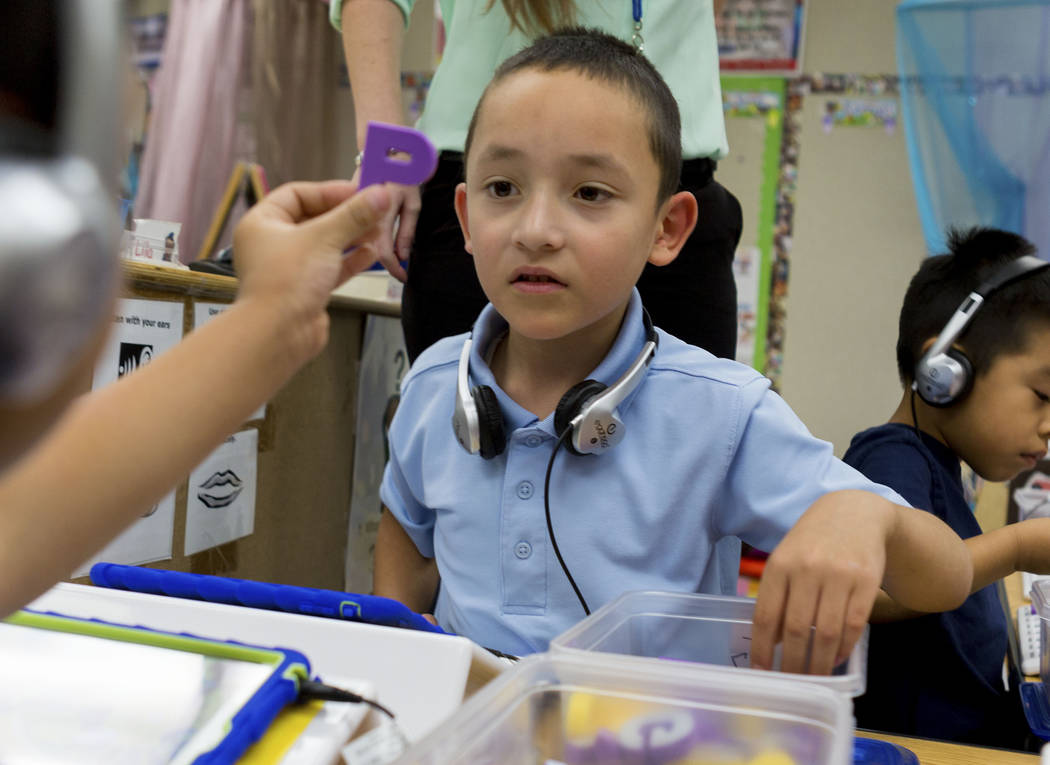 "Pre-kindergarten student Aldo, 5, uses the ""multisensory phonics system,"" Square Panda at Gene Ward Elementary School in Las Vegas, May 1, 2017. Elizabeth Brumley Las Vegas Revie ..."