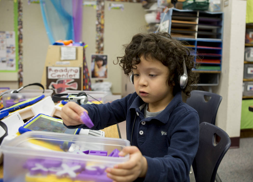 "Pre-kindergarten student Aethan, 5, uses the ""multisensory phonics system,"" Square Panda at Gene Ward Elementary School in Las Vegas, May 1, 2017. Elizabeth Brumley Las Vegas Rev ..."