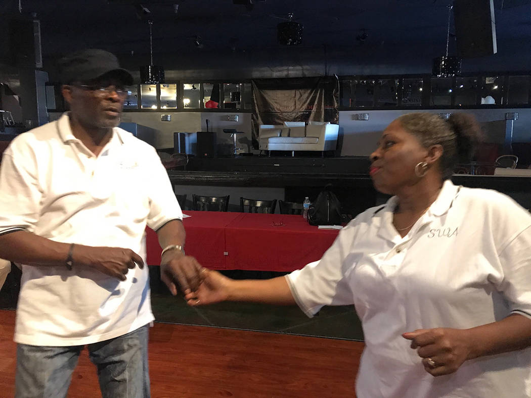 Zakeeyaw Toney and assistant instructor Robert Hinton demonstrate dance before the Steppers West Associates class starts May 1 at Rendezvous Wine and Dine Restaurant, 2605 S. Decatur Blvd. Suite # ...