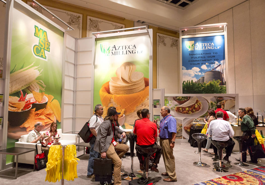 Customers and tortilla factory businesses network during the Tortilla Industry Association Annual Convention at Paris Las Vegas, May 1, 2017. Elizabeth Brumley Las Vegas Review-Journal @EliPagePhoto