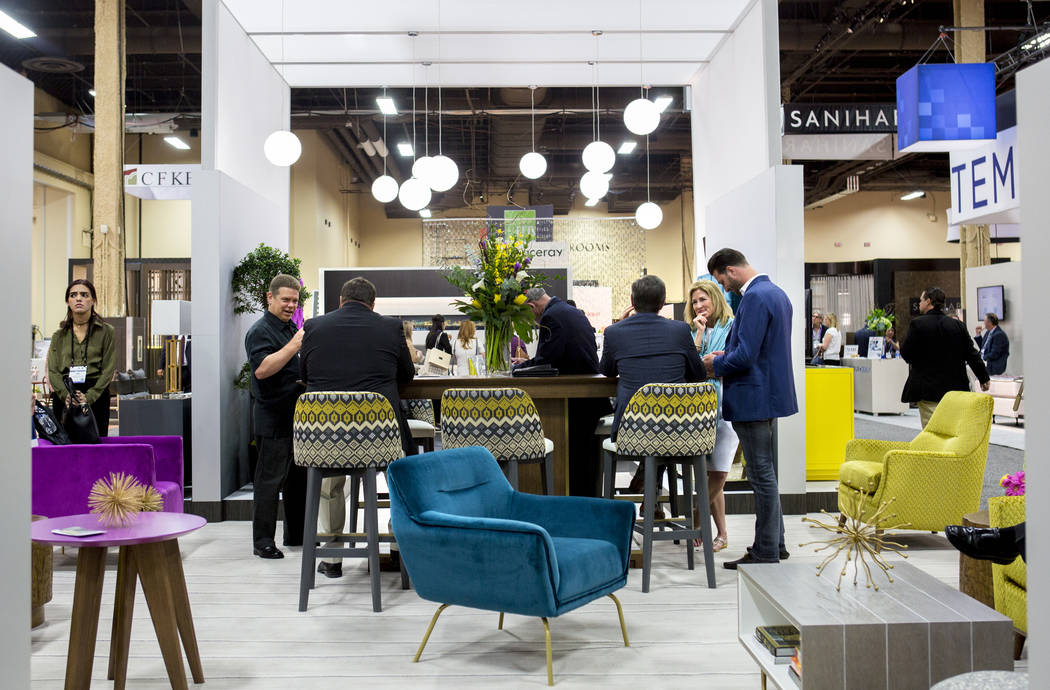 The Kimball Hospitality booth during the Hospitality Design Exposition and Conference at the Mandalay Bay Convention Center in Las Vegas, Wednesday, May 3, 2017. Elizabeth Brumley Las Vegas Review ...