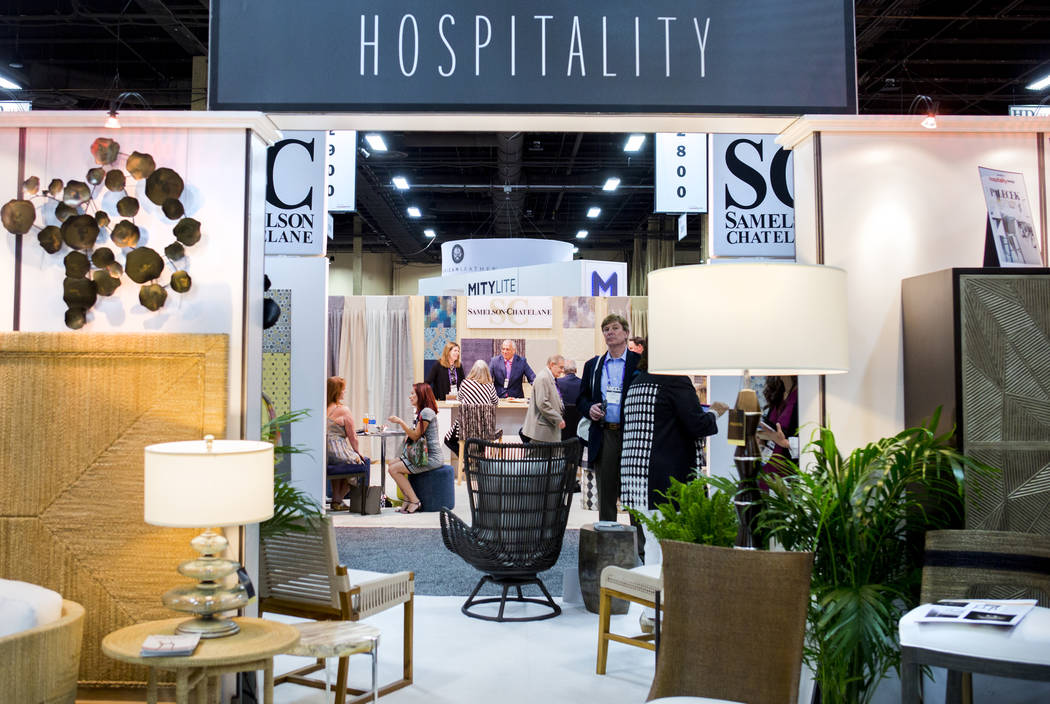 Multiple booths at the Hospitality Design Exposition and Conference that is underway at the Mandalay Bay Convention Center in Las Vegas, Wednesday, May 3, 2017. Elizabeth Brumley Las Vegas Review- ...