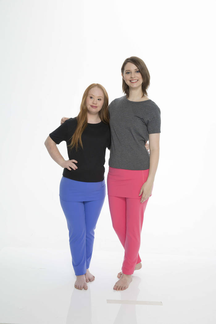 Madeline Stuart and Alexis Wineman, both ambassadors for Zappos Adaptive, model the Independence Day Clothing Co.'s pull-on skirted leggings. This style can also be worn back to front. (Zappos)