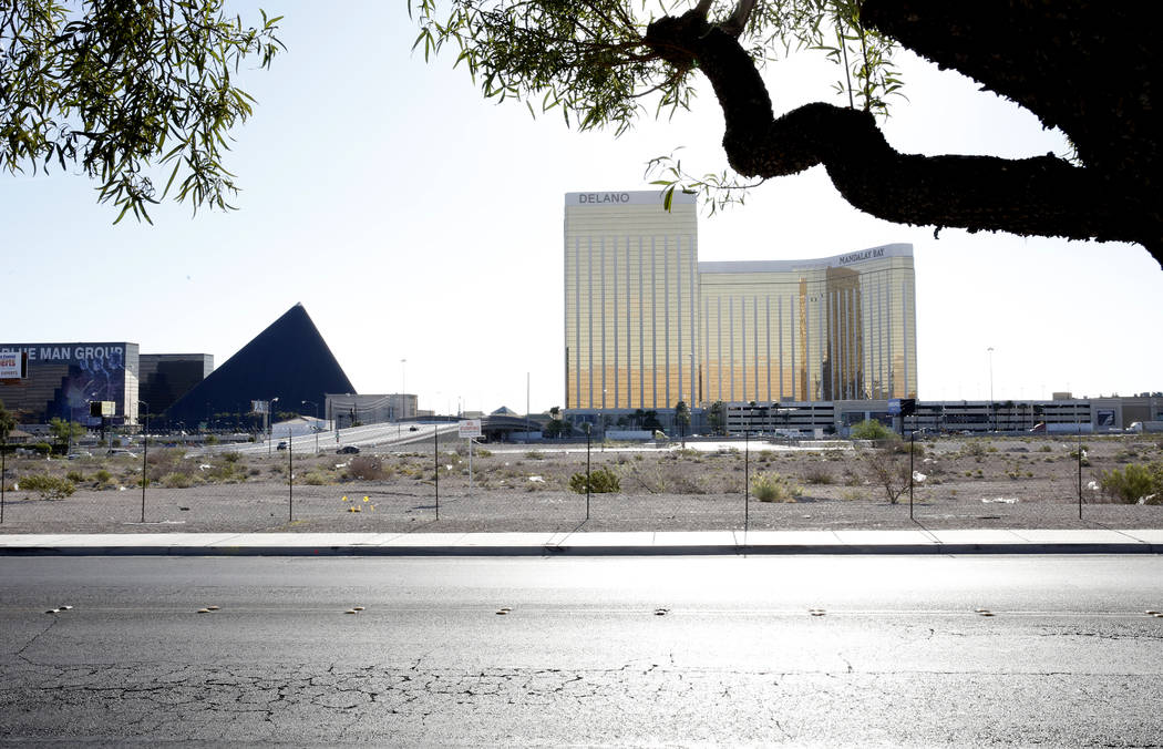 The lot where officials want to build a NFL football stadium to draw the Raiders to Las Vegas as seen from Polaris Avenue on Tuesday, April 18, 2017, in Las Vegas. Bizuayehu Tesfaye Las Vegas Revi ...