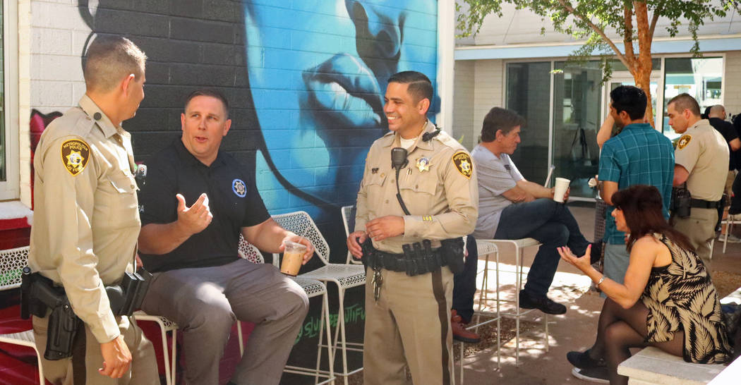 Members of the Metropolitan Police Department hanging out at the Donut Bar in downtown Las Vegas during Coffee with a Cop, Thursday, May 4, 2017. (Gabriella Benavidez/Las Vegas Review-Journal) @la ...
