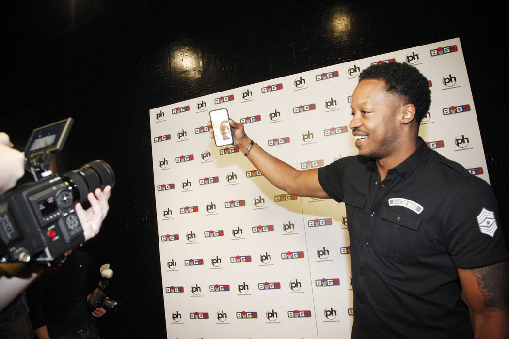 Steve Francis face times his son on the red carpet on Sunday, April 30, 2017, at the BIG3 inaugural draft at Planet Hollywood in Las Vegas. Rachel Aston Las Vegas Review-Journal @rookie__rae
