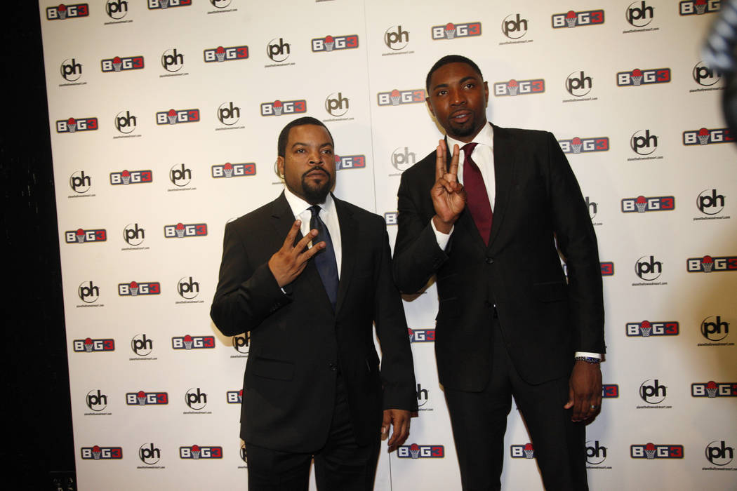 Ice Cube and Roger Mason Jr. on the red carpet on Sunday, April 30, 2017, at the BIG3 inaugural draft at Planet Hollywood in Las Vegas. Ice Cube founded the new pro basketball football league BIG3 ...