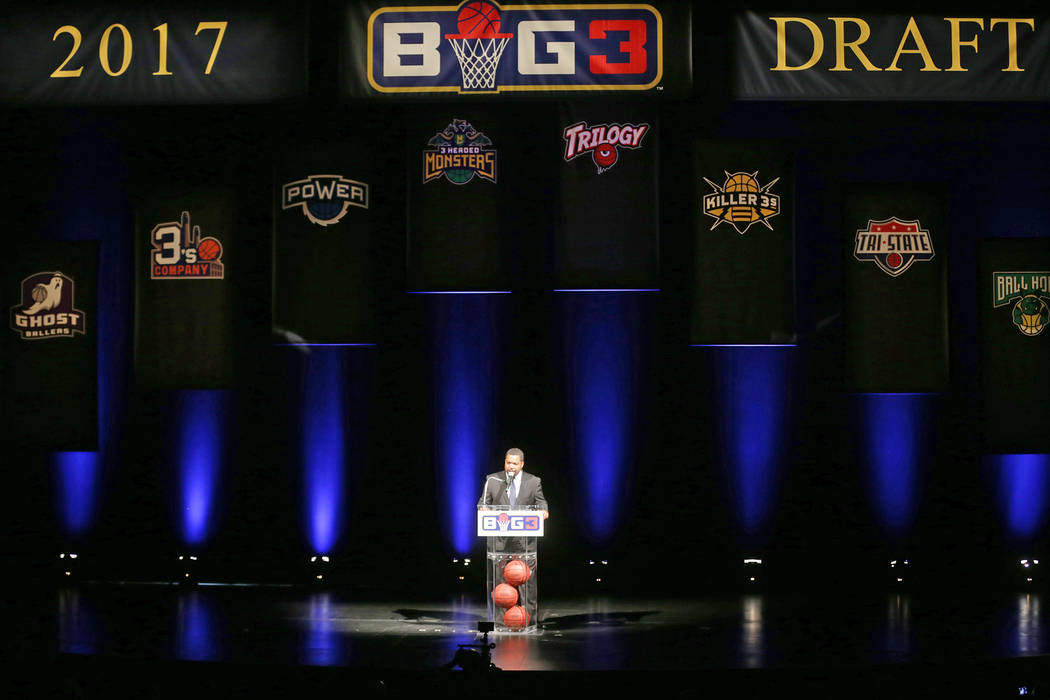 Ice Cube addresses the crowd at the BIG3 inaugural draft on Sunday, April 30, 2017, at Planet Hollywood in Las Vegas. Ice Cube founded the new 3-on-3 pro basketball football league BIG3. Rachel As ...