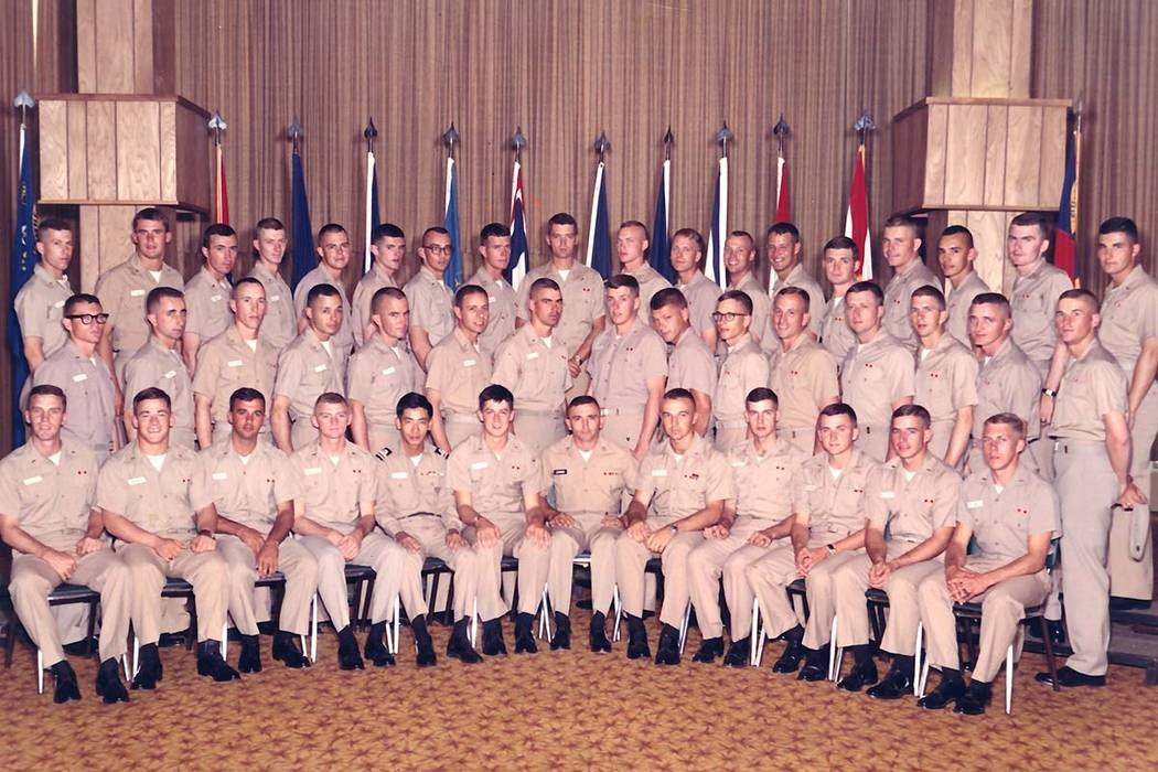 Graduation photo for 1st Platoon, K Company, one of several platoons in Class 5-67. Jack Callanan, top row, second from right. Paul Barents, top row, fourth from left. George Chaconas, bottom row, ...