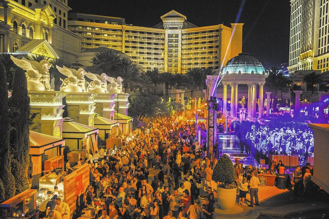 Over 2,500 guests pack the Garden of the Gods Pool Oasis during The Grand Tasting at Vegas Uncork'd on Friday, April 28, 2017, at Caesars Palace hotel-casino, in Las Vegas. The event is sponsored  ...