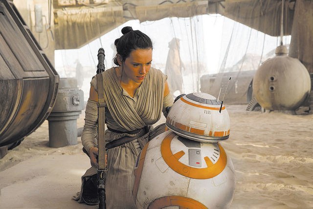 """Rey (Daisy Ridley) and BB-8 are seen in """"Star Wars: The Force Awakens."""" Ridley is set to star in """"Star Wars: Episode VIII,"""" which is scheduled to be released December 2017. (David James/Lucasfilm)"""