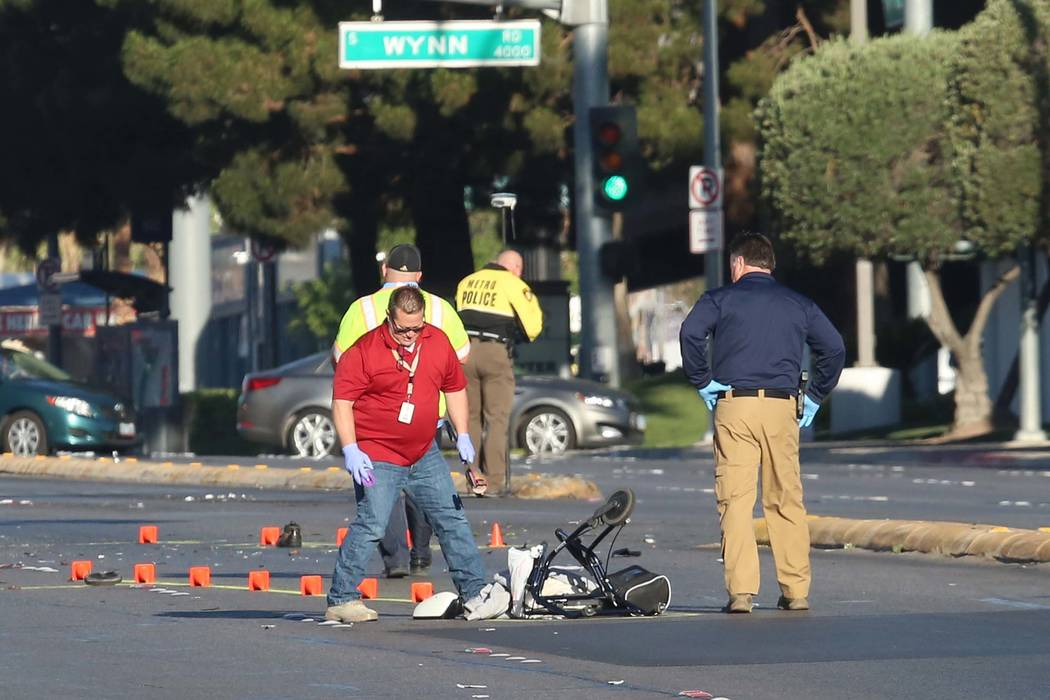 Metro officers investigate a fatal crash early Friday morning, May 1, 2017. A 60-year-old pedestrian died after he was hit by a car near the Gold Coast. Bizuayehu Tesfaye/Las Vegas Review-Journal  ...