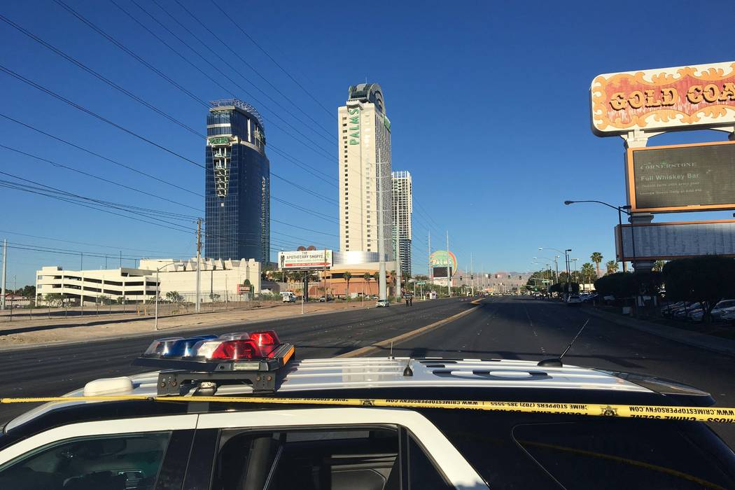 A 60-year-old pedestrian died after he was hit by a car near the Gold Coast, 4000 W. Flamingo Road, early Friday morning, May 1, 2017. Bizuayehu Tesfaye/Las Vegas Review-Journal @bizutesfaye