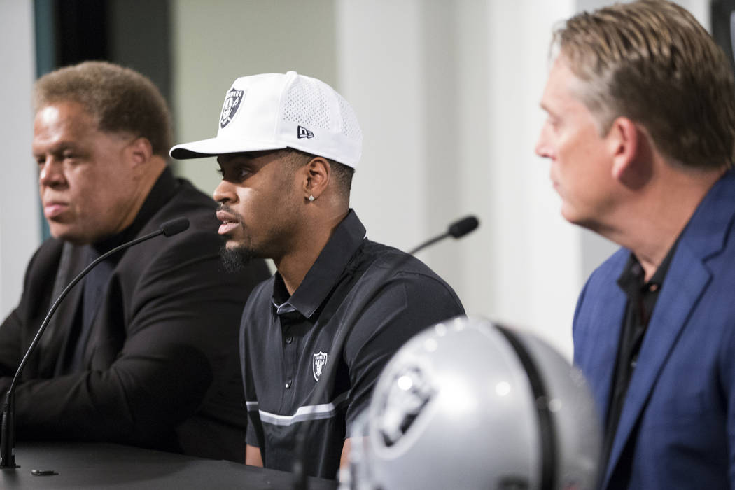Oakland Raiders first round NFL Draft pick Gareon Conley of Ohio State, center, during a press conference at the Raiders Headquarters on Friday, April 28, 2017, in Alameda, Calif. Erik Verduzco La ...