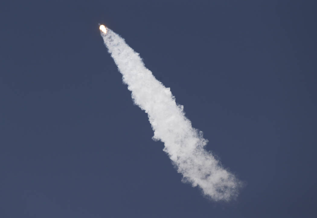 A Falcon 9 SpaceX rocket carrying a classified satellite for the National Reconnaissance Office lifts off from pad 39A at the Kennedy Space Center in Cape Canaveral, Fla., Monday, May 1, 2017. (Jo ...