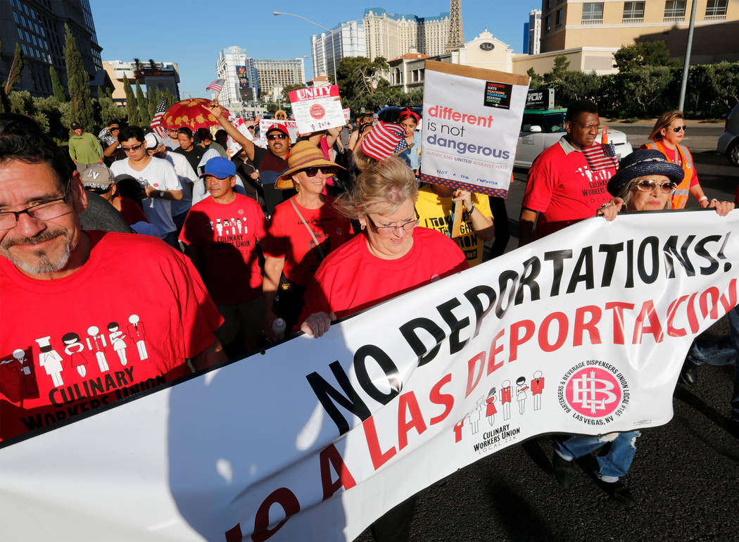 Attendees walk through the Strip during May Day Unity March for Immigrants in Las Vegas, Monday, Feb. 20, 2012. Chitose Suzuki Las Vegas Review-Journal @chitosephoto