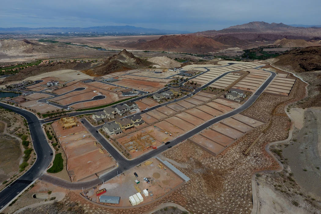 Aerial view of home construction sites at The Peaks, a new development at Lake Las Vegas that overlooks the Las Vegas Valley, on Monday, April 17, 2017. Michael Quine/Las Vegas Review-Journal @Veg ...