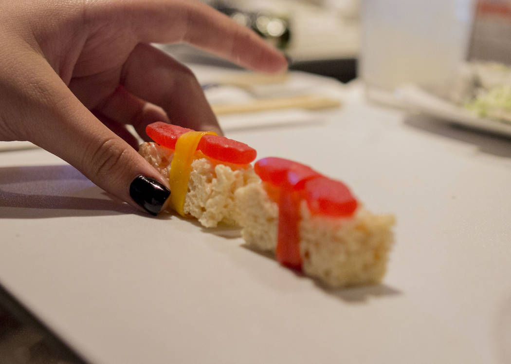 Desert sushi is completed after students from Harney Middle School learn how to make different sushi rolls at Benihana inside Fashion Show mall in Las Vegas, Tuesday, May 2, 2017. Elizabeth Brumle ...