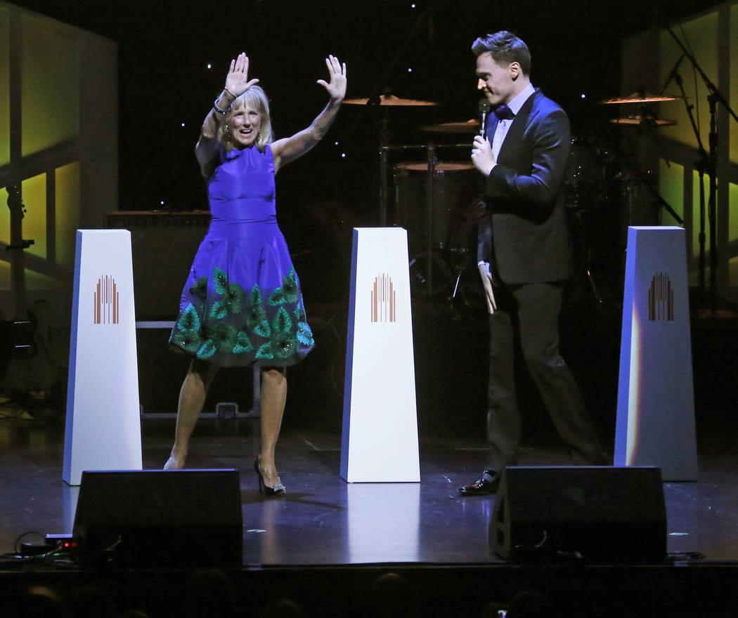 Former Second Lady of the United States Jill Biden and host Erich Bergen during the second-annual Heart of Education Awards at The Smith Center for the Performing Arts on Saturday, April 29, 2017, ...