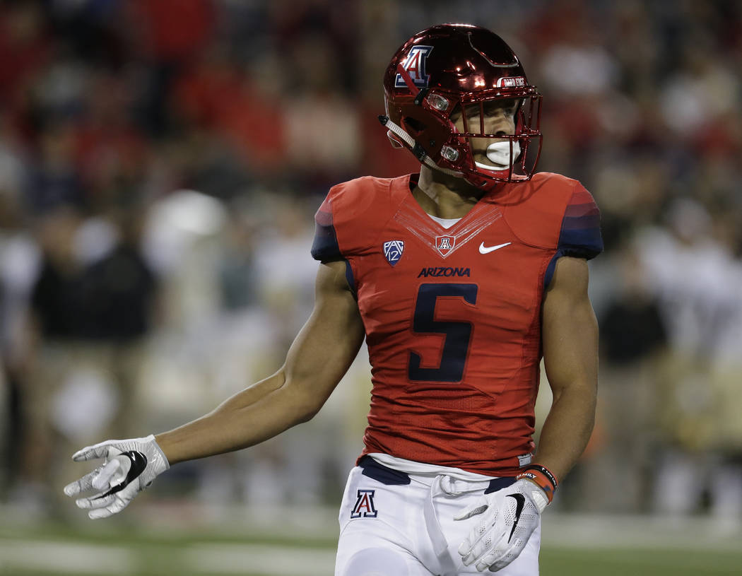 Arizona wide receiver Trey Griffey (5) during the first half of an NCAA college football game against Colorado, Saturday, Nov. 12, 2016, in Tucson, Ariz. (AP Photo/Rick Scuteri)
