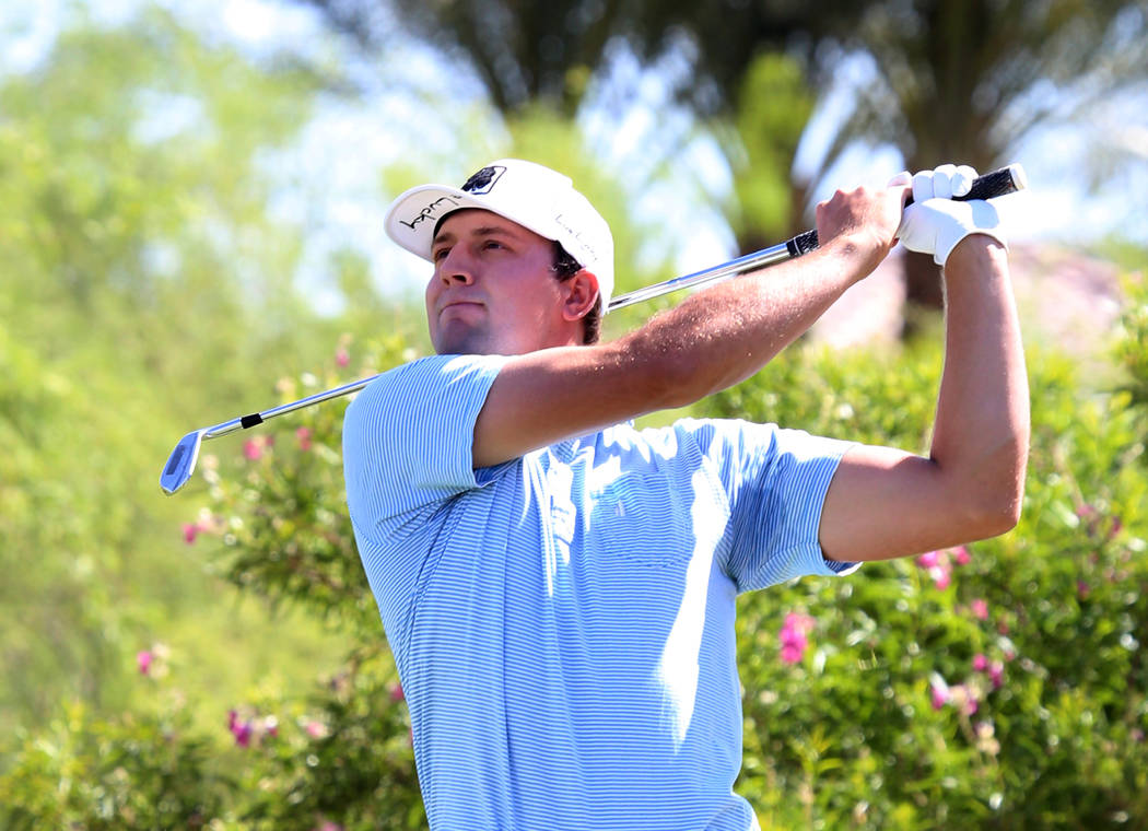 Taylor Montgomery of UNLV watches his drive during the U.S. Open qualifier at Southshore Golf Club  on Monday, May 8, 2017, in Henderson. Bizuayehu Tesfaye Las Vegas Review-Journal @bizutesfaye