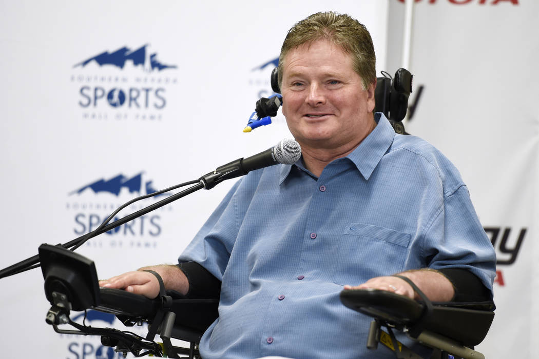Former Indy car driver and current team owner Sam Schmidt speaks during a news conference to announce the 2017 inductees into the Southern Nevada Sports Hall of Fame Tuesday, March 14, 2017. Sam M ...